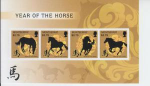 2013 Montserrat Year of the Horse MS4 (Scott 1321) MNH
