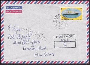 TRISTAN DA CUNHA 1997 Returned postage due cover to REUNION ISLAND..........6213