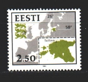 Estonia. 1991. 175 of the series. Map of Estonia. MNH.