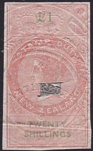 NEW ZEALAND 1867 Stamp Duty £1 imperf with full margins used................7789