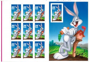 3137 Mint,OG,NH... Bugs Bunny Pane of 10... SCV $41.66... Press Sheet x 1/6