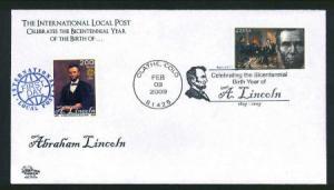 Abe Lincoln Bicentennial Dual Issue FDC - Intl. LP & #4383