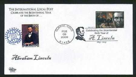 Abe Lincoln Bicentennial Dual Issue FDC - Intl. LP & #4383