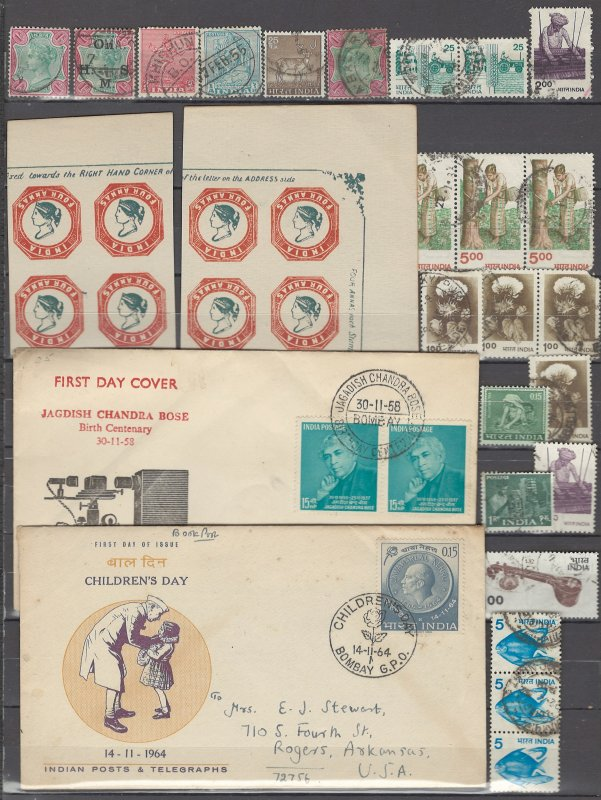 COLLECTION LOT OF #1037 INDIA 23 STAMPS 1892+ AND STATIONERY CLEARANCE
