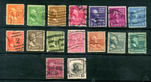 16 Used 1938 Presidential Issue CV $4