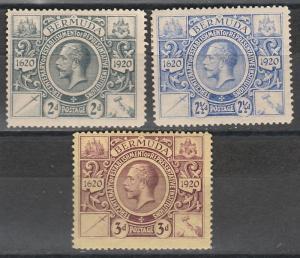 BERMUDA 1921 KGV 300TH ANNIVERSARY 2D 21/2D AND 3D