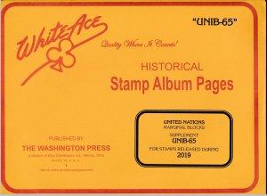 WHITE ACE 2019 United Nations Inscription Blocks Album Supplement UNIB-65