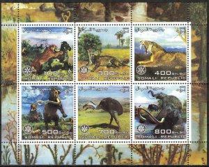 Somali 2003 Rotary Prehistory Animals Dinosaurs Sheet of 6 MNH Cinderella !