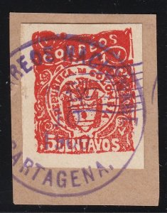 Colombia 1900 Cartagena Issues 5c Red on Piece Used. Scott 174