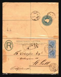Straits Settlements 1898 Uprated Reg to Switz. LINGE Paq. (See Notes) - Z14693