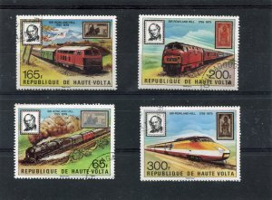 Upper Volta 1979 ROWLAND HILL TRAINS set of 4 values Perforated Fine Used VF