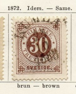 Sweden 1872 Early Issue Fine Used 30ore. NW-04593