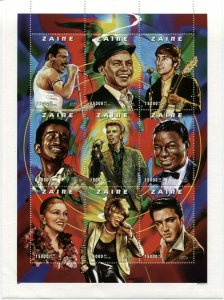 ZAIRE Music Stars Souvenir Sheet Mercury Sinatra Lennon Bowie Madonna Turner