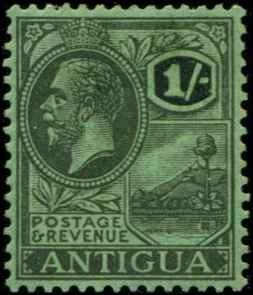 Antigua SC# 61 SG# 58 King George V 2Shilling wmk 3  lightly crease MH