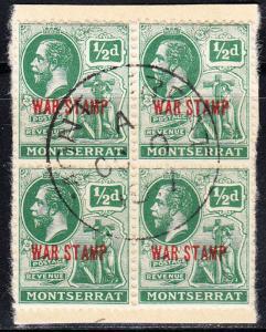 MONTSERRAT SG 61 Used block on piece  - Oct 1917 - Deep Green - War stamp