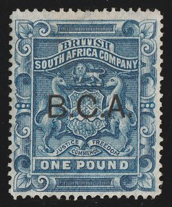 BRITISH CENTRAL AFRICA : 1891 BCA opt Arms £1 , large part wmk. with CERTIFICATE