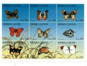 Sierra Leone MNH S/S Butterflies 9 Stamps