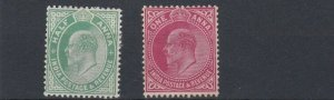 INDIA  1906 - 07     S G 149 - 150   1/2A ON 1A      MH  NO GUM