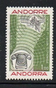Andorra (Fr) Sc 245 1976 100th Anniversary Telephone stamp  mint NH