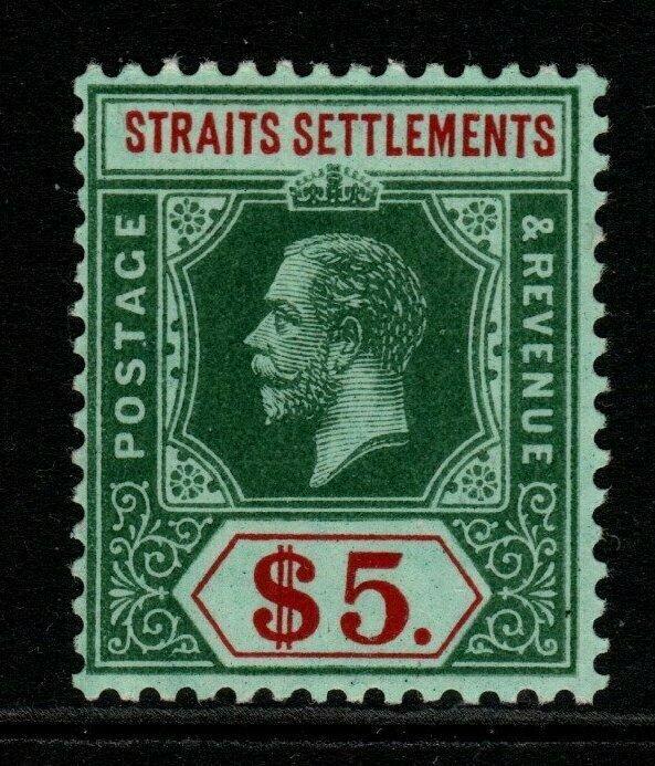 MALAYA STRAITS SETTLEMENTS SG212 1913 $5 GREEN & RED/GREEN WHITE BACK MTD MINT