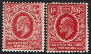 EAST AFRICA AND UGANDA 1907 KEVII 6C ORIGINAL AND REDRAWN PRINTINGS