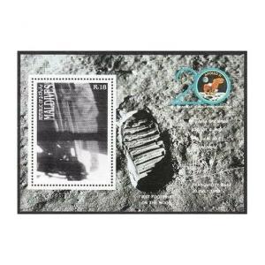 Maldives 1357-1361,MNH.Michel 1380-1383,Bl.160. 1st Moon landing,20th Ann.1989.