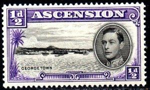 1938 Ascension Sg 38 ½d black and violet (perf 13½) Mounted Mint