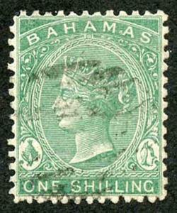 Bahamas SG38 1/- blue-green perf 12.5 wmk Crown CC Very Fine used