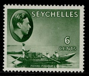 SEYCHELLES GVI SG137a, 6c greyish green, LH MINT.