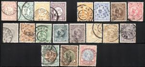 19 NETHERLANDS SC #34-49 51-53 Stamps Postage Princess Wilhelmina 1876-1896 USED