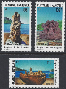 French Polynesia #567-9 MNH, set, sculptures of the Marquesas Islands