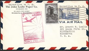Doyle's_Stamps: Nice 1939 Airmail First Flight Cover France to USA