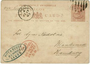 Lagos 1883 grid cancel on postal card to Germany, oval agent handstamp