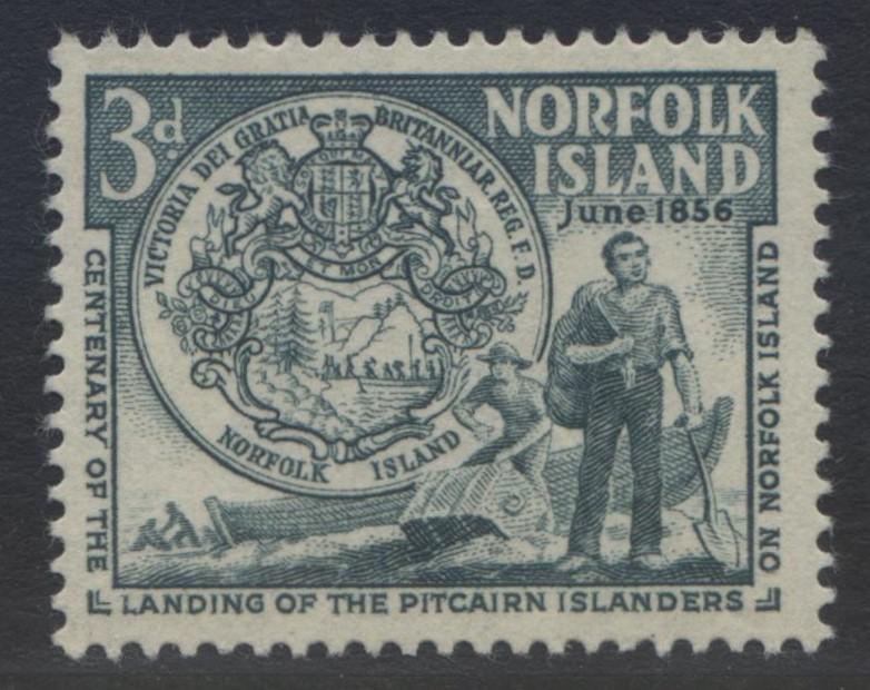 Norfolk Is - Scott 19- First Settlers-1956 - MVLH - Bluish Grn- Single 3d Stamp1