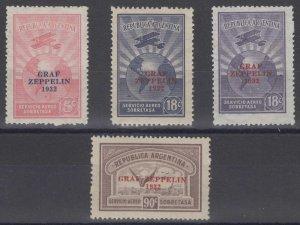 ARGENTINA 1932 GRAF ZEPPELIN Sc C35-C37 & C36a FULL SET MINT & UNUSED SCV$148.00
