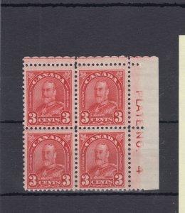 #167 three cent UR Plate block #4 F-VF MH Cat $24 -$50 Canada mint