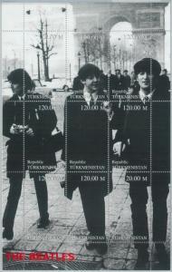 1970 - TURKMENISTAN,  MINIATURE SHEET: The Beatles, John Lennon, P. McCartney
