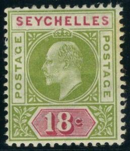 SEYCHELLES-1903 18c Sage Green & Carmine DENTED FRAME fine mounted mint Sg 51a