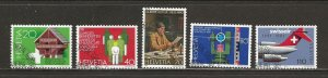 Switzerland Scott catalog #694-698 Used (CTO)