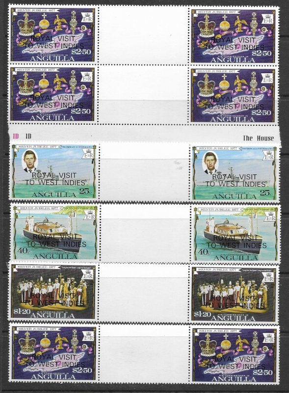 Anguilla 297-300 MNH cpl sets in gutter prs x 3, f-vf, see desc. 2020 CV$ 9.90