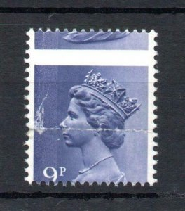 9p MACHIN UNMOUNTED MINT + PERFORATION SHIFT (BADLY CREASED)