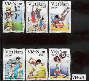 VIET NAM VN-24 A SET OF (6) USED SC2340,2341,2342,2344,2345,2346, 1964, SPORTS
