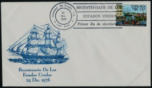 Costa Rica C680 on FDC - Boston Tea party, Ships, American Bicentennial
