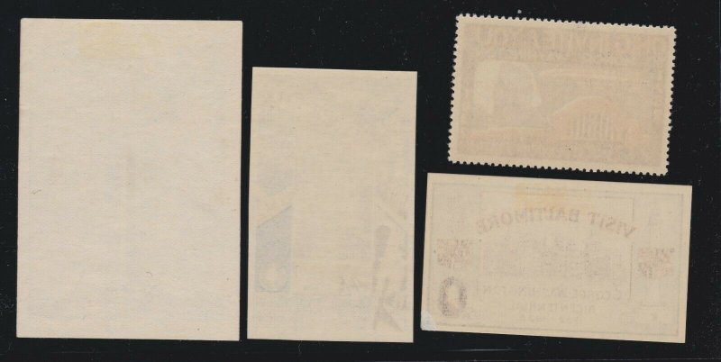 US 1932 Washington Bicentennial Poster Stamps Lot of 4 w/4 Different States