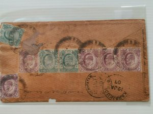 MALAYA 1907 STRAITS SETTLEMENT KG V REGISTERED COVER FROM PENANG TO INDIA