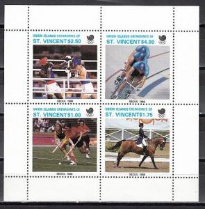 St. Vincent, Union Is., 1988 issue. Seoul Olympics on a sheet of 4.
