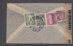 ECUADOR, 1943 Airmail Censored cover, Quito to USA, 10c., 50c., 1s. & 2s.