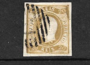PORTUGAL 1866 20r BISTRE  IMPERF KL  FU SG 38
