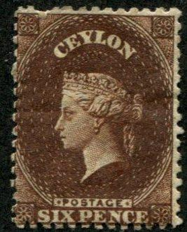 Ceylon SC#53a / SG#46 Victoria, 6d, p13, sepia, MH