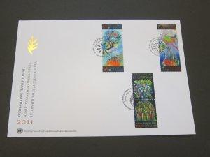 United Nations (NY,Vienna,Geneva) 2011 Sc 506a,545a,1036a FDC